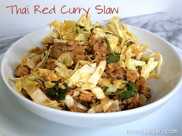 Thai Red Curry Slaw. Awesome main dish cabbage salad with tons of flavor from a Thai-influenced red curry dressing. Light but filling, perfect for fast summer dinners. Can't stop eating this.