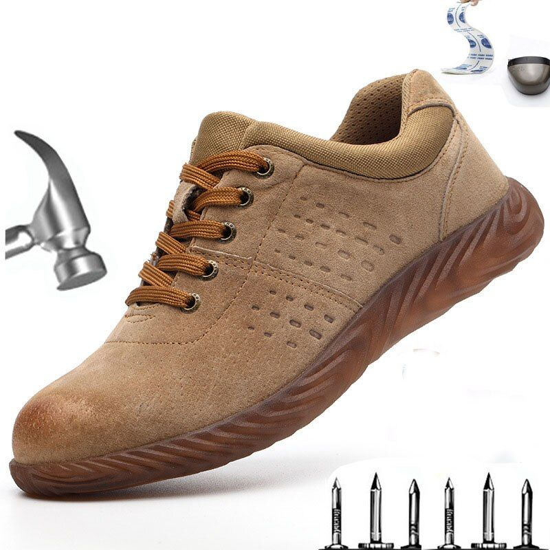 Men S Summer Breathable Flying Woven Steel Head Anti Smashing Work Boots Anti Puncture Safety Shoes Lightweight Outdoor Sho In 2020 Work Boots Men Work Boots Boots Men
