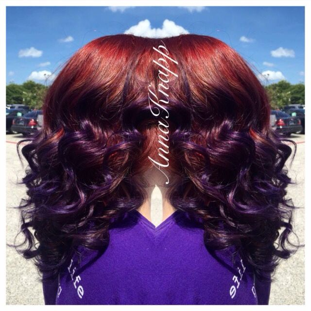 My new hair! Red and purple ombré, done by Anna Knapp in Friendswood. Love it!!