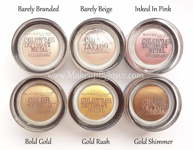Review Swatches Maybelline Color Tattoo Metal 24hr Cream Gel Eyeshadow Maybelline Color Tattoo Gel Eyeshadow Color Tattoo Eyeshadow