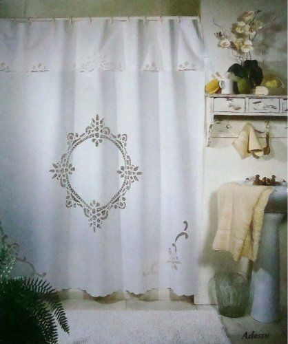 Vintage Battenburg White Cotton Shower Curtain