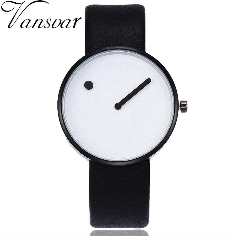 Vansvar Brand Minimalist Style Wristwatches Creative Design Dot and Line  Simple Face Quartz Watches Gift Clock b7cf5a115b7