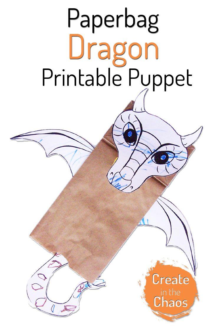 Paper Bag Dragon Puppet Dragon Puppet Dragon Crafts Paper Bag