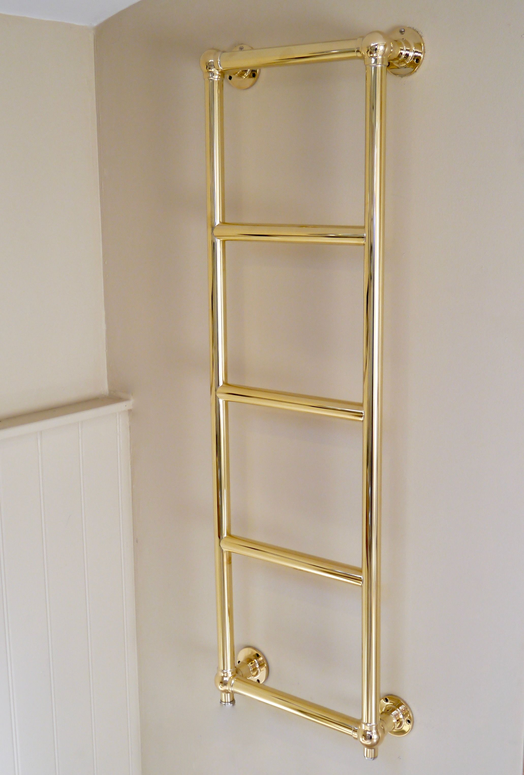 Brighton Wall Towel Rail In Hand Polished Brass Finish #Towelrail