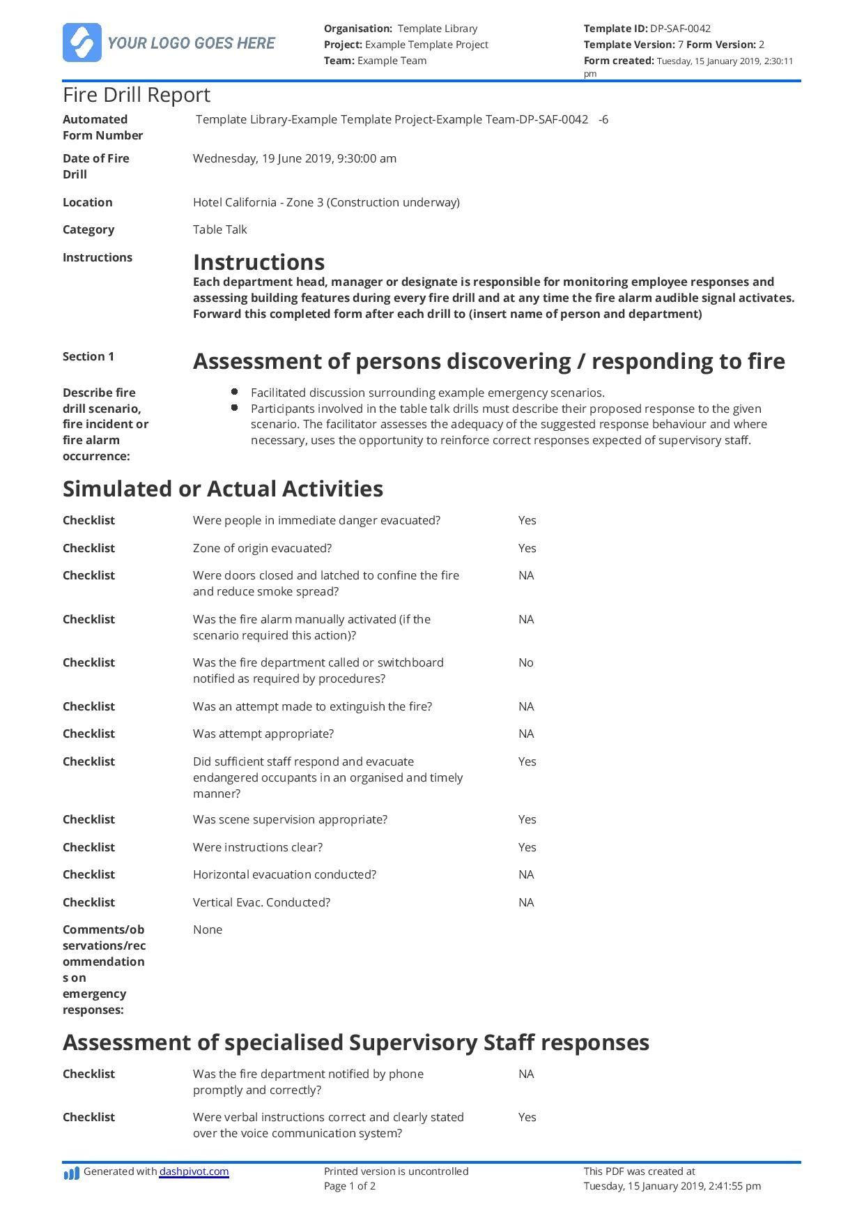 Free Fire Drill Report Template Use, Customise, Download