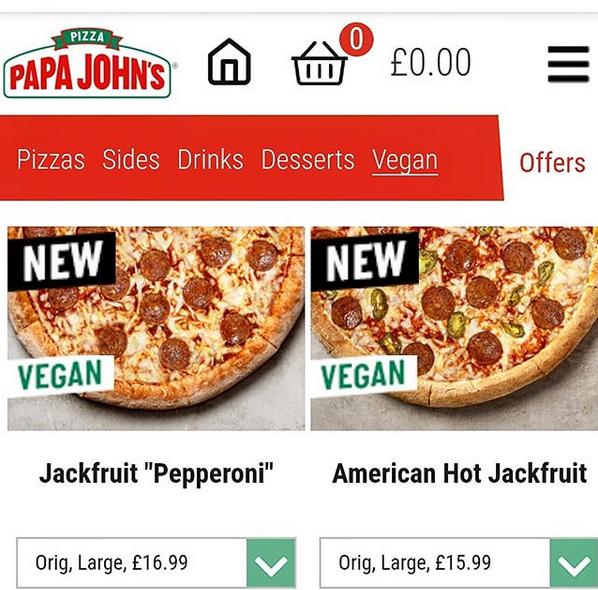 Papa John S Uk New Vegan Options Pizza Jackfruit Pizza Sides Vegan Options