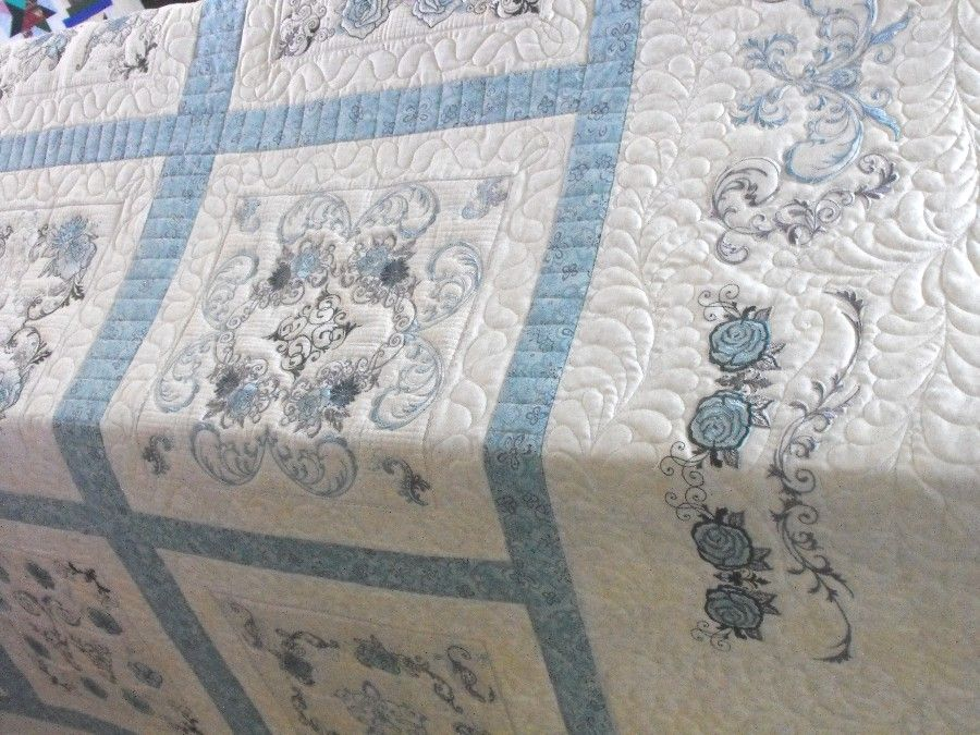 Quilts With Embroidered Blocks Charm Grace Customer Quilt