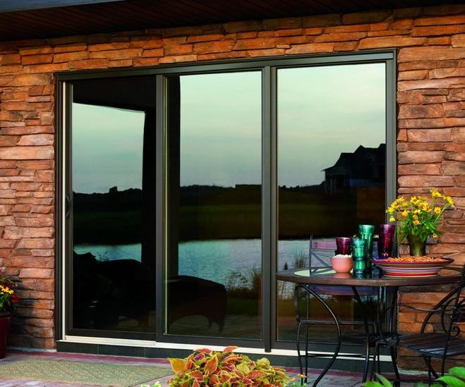 Bronze fiberglass 3 panel sliding patio door with low e for Fiberglass patio doors