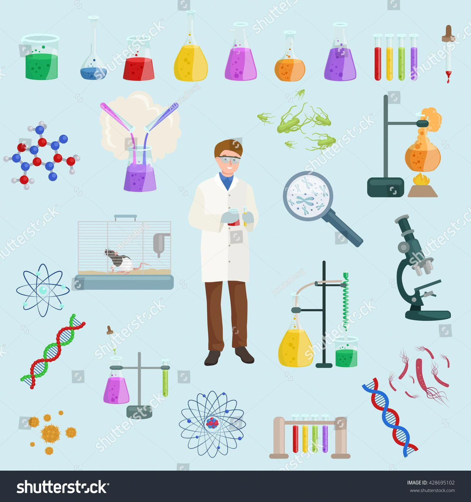 Icon Vector Set Science Lab Reaction Tools Chemistry