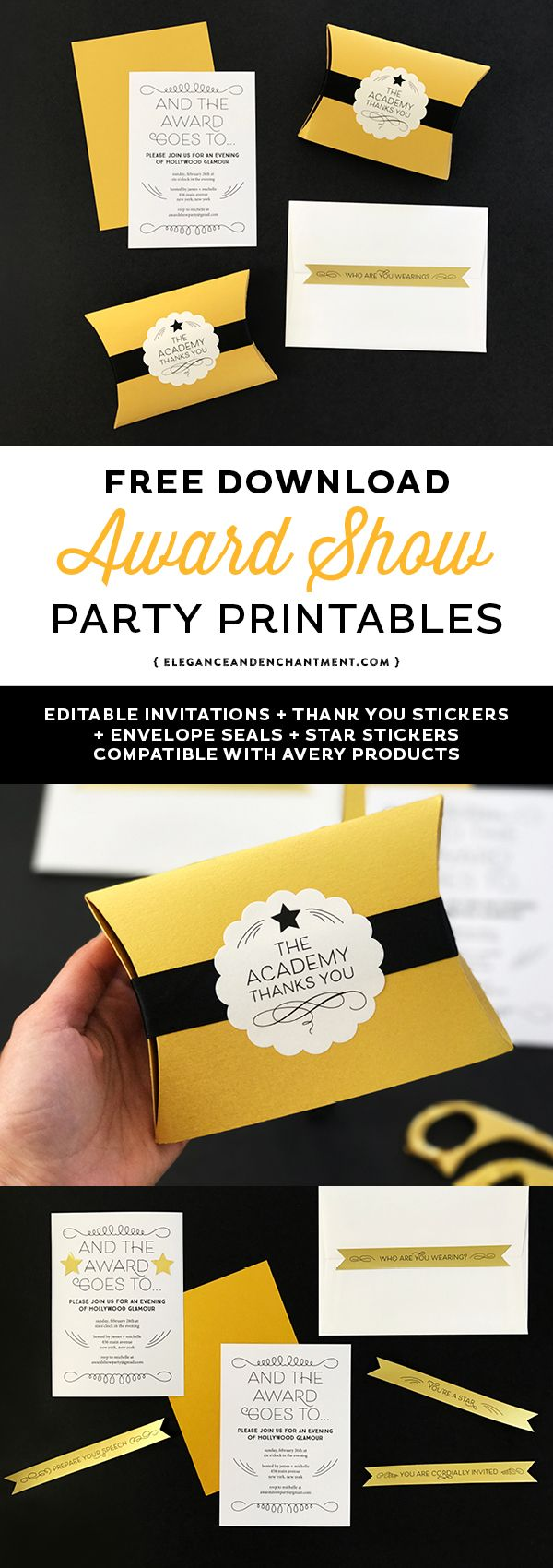 Get ready for the Oscars, Emmys, Golden Globes, Grammys and Tony Awards with these free award show party printables. Includes an editable invitation, envelope seals, star stickers and thank you sticker seals. Compatible with Avery Products 22836, 4396 and