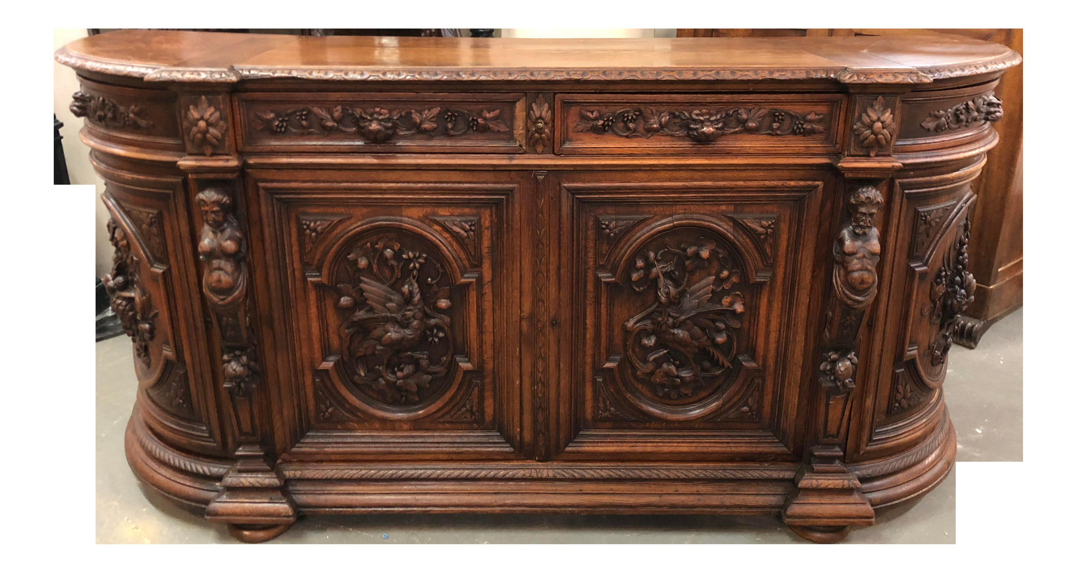 French Renaissance Louis Xiii Huntboard Sideboard Buffet Sideboard Cabinet Furniture