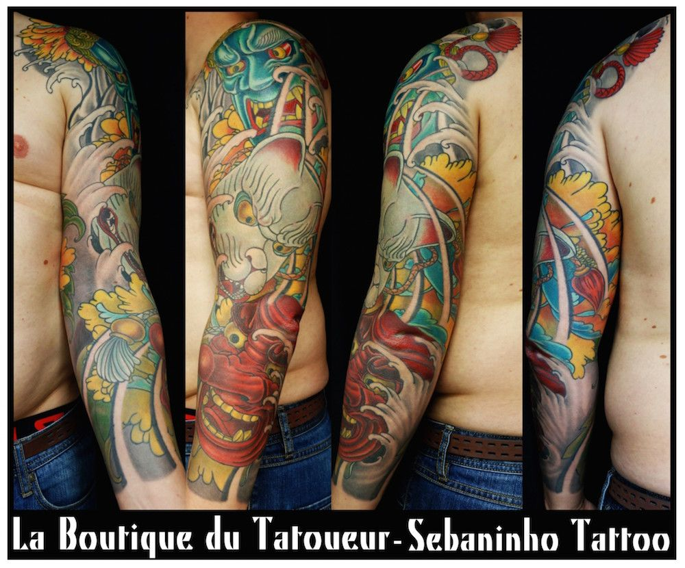 tatouge japonais bras homme masques de fudo kitsune et tengu sebaninho tattoo tatouage. Black Bedroom Furniture Sets. Home Design Ideas
