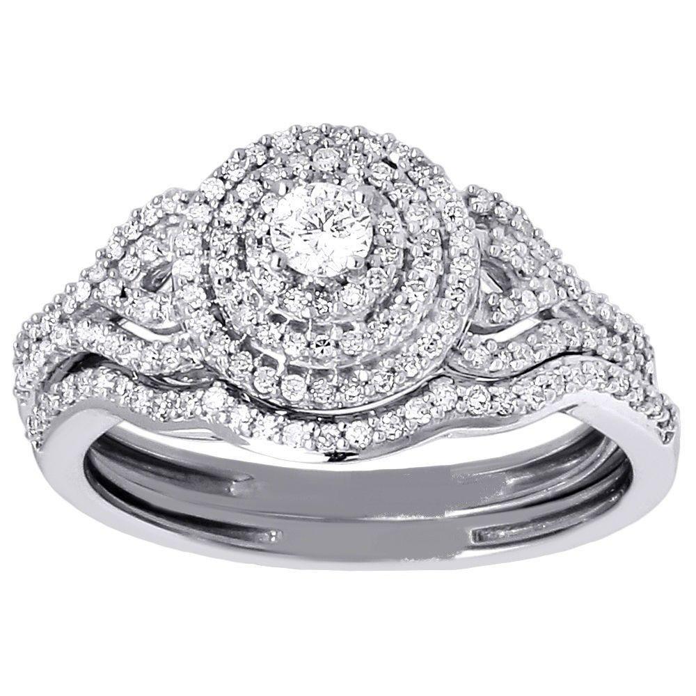 Diamond Bridal Set Ladies Solitaire 14K White Gold Curved