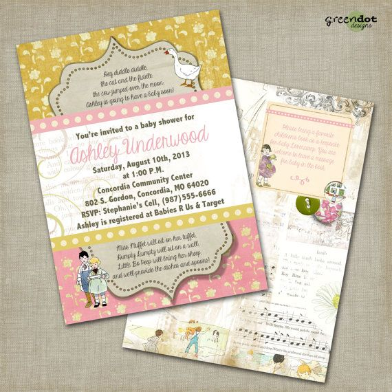 Nursery rhyme baby shower invitation pink baby girl mother goose nursery rhyme baby shower invitation pink baby girl mother goose printable filmwisefo Images