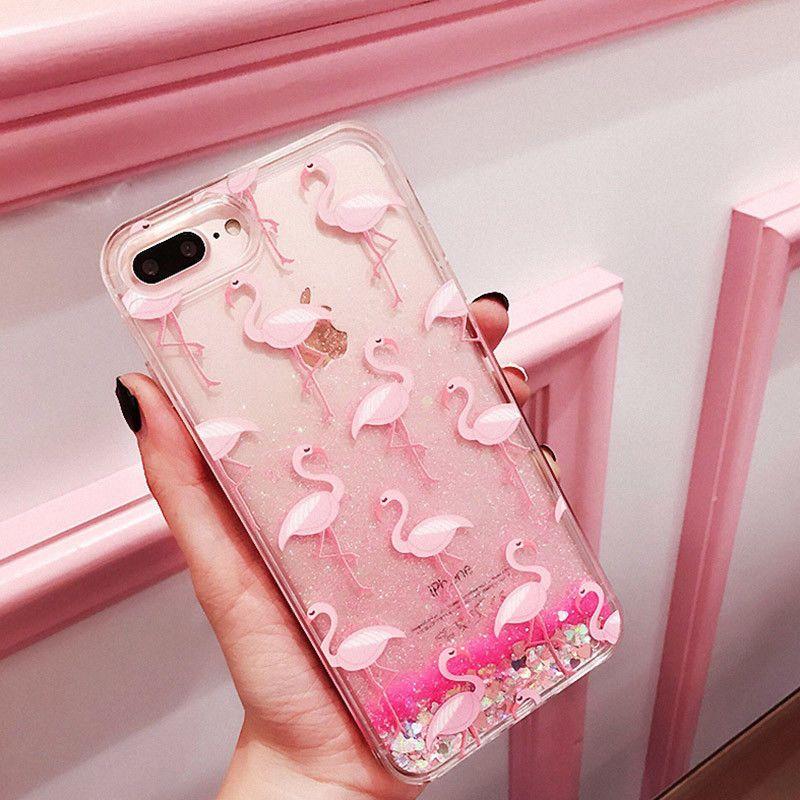 Flamingo Dynamic Glitter Quicksand Girl Clear Tpu Case Cover For Iphone X 8 S003 Accesorios Para Celular Fundas De Almohadas Fundas Para Teléfono