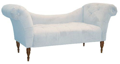 Skyline furniture roslyn double arm tufted chaise lounge pool blue velvet by skyline furniture - Blue velvet chaise lounge ...
