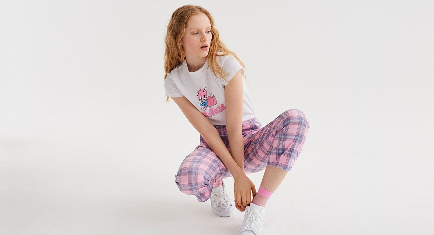 4f32ddd14545 Lazy Oaf Bow Bum Check Trousers | IRL Clothing References | Checked ...