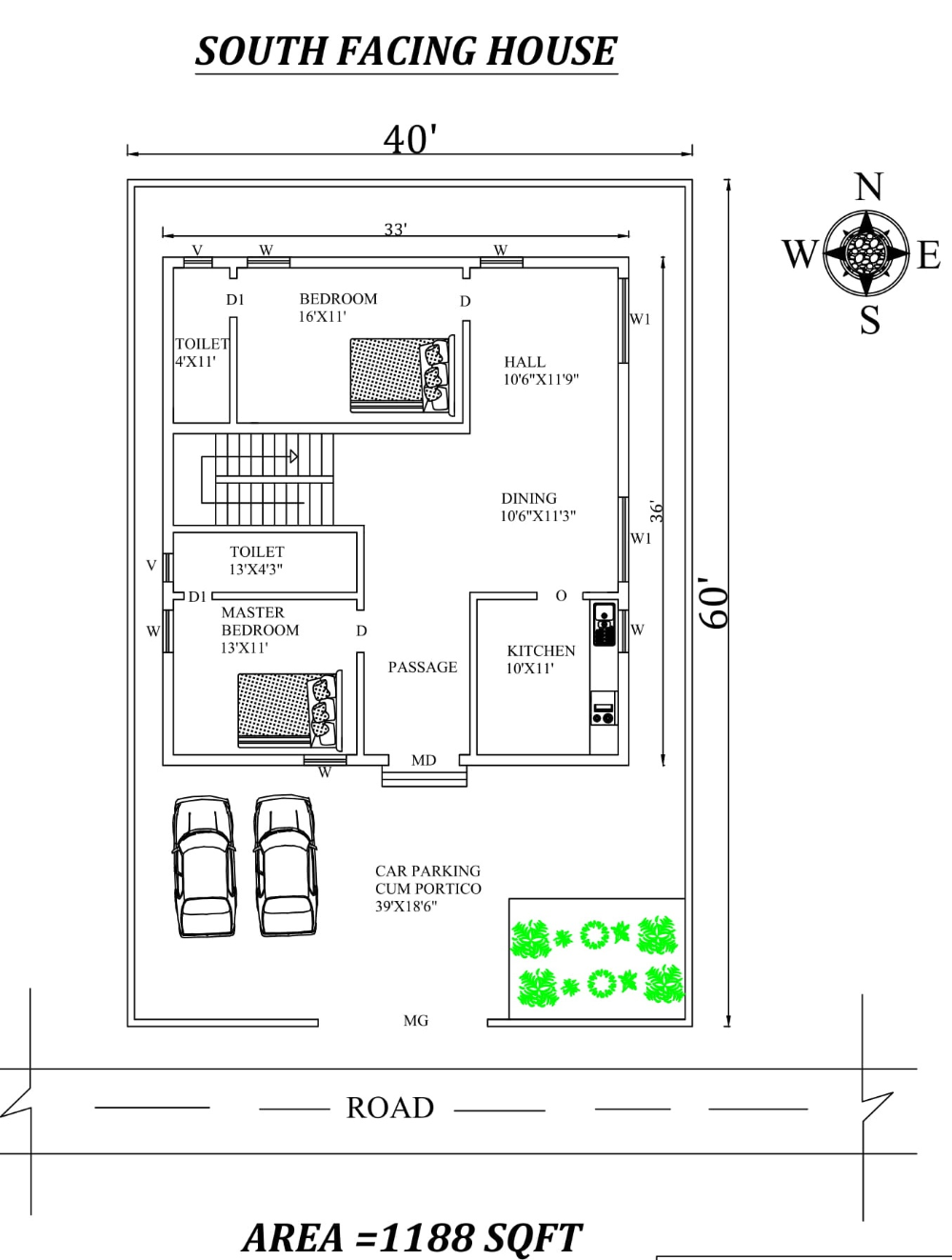 33 X36 2bhk Awesome South facing House Plan As Per Vastu Shastra Autocad DWG and Pdf file details Autocad DWG and Pdf file details