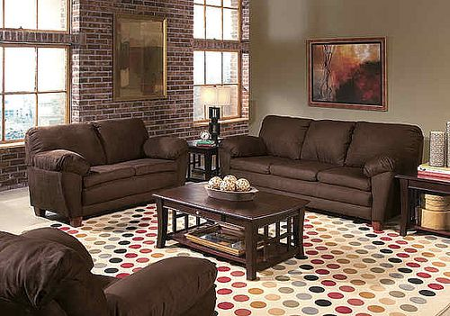 Living Room Colour Schemes Brown Sofa Charming Design With Couch Exposed Brick Wall Sides