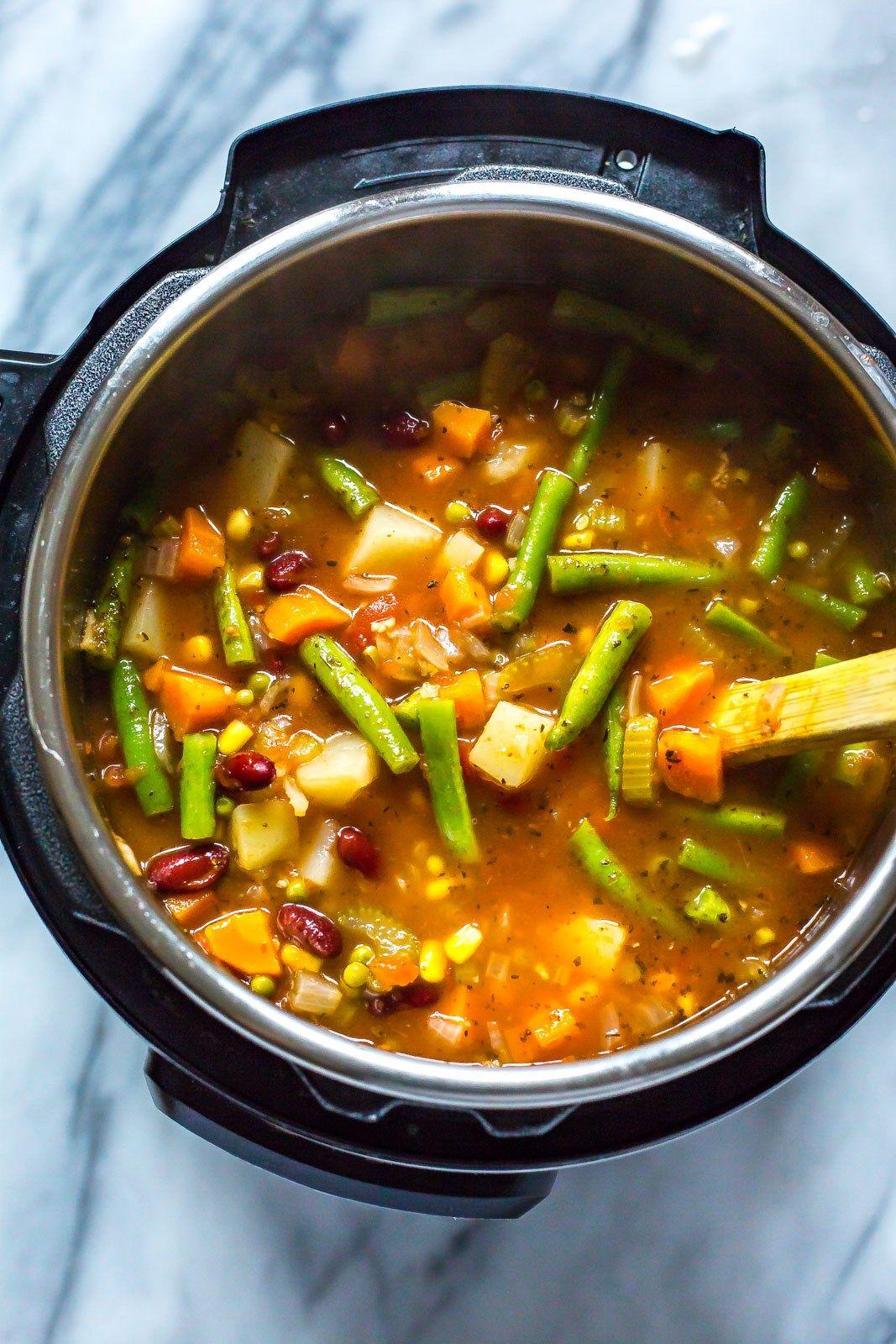 Instant Pot Vegetable Bean Soup | Soup recipes, Vegetarian vegetable soup,  Food recipes