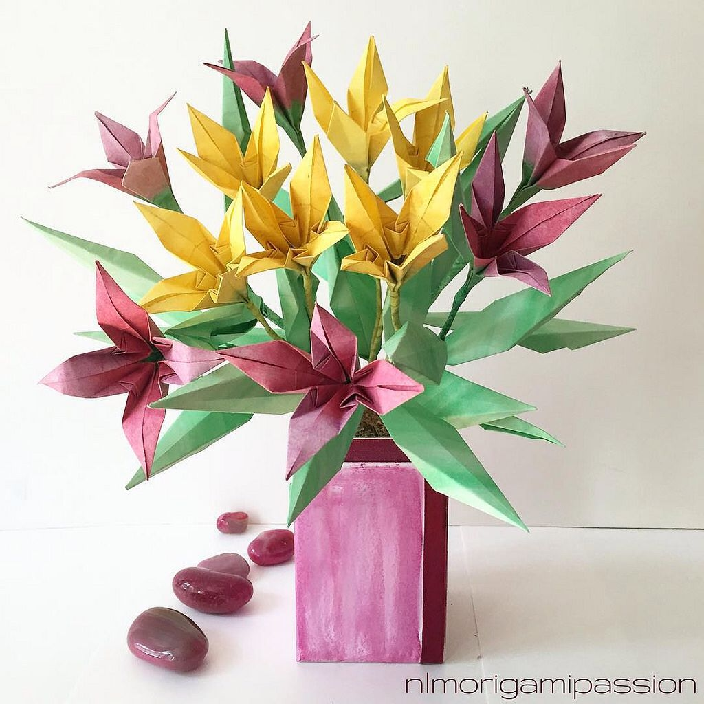 Colorful flower bouquet in box vase. | NLM Origami Passion Flower ...