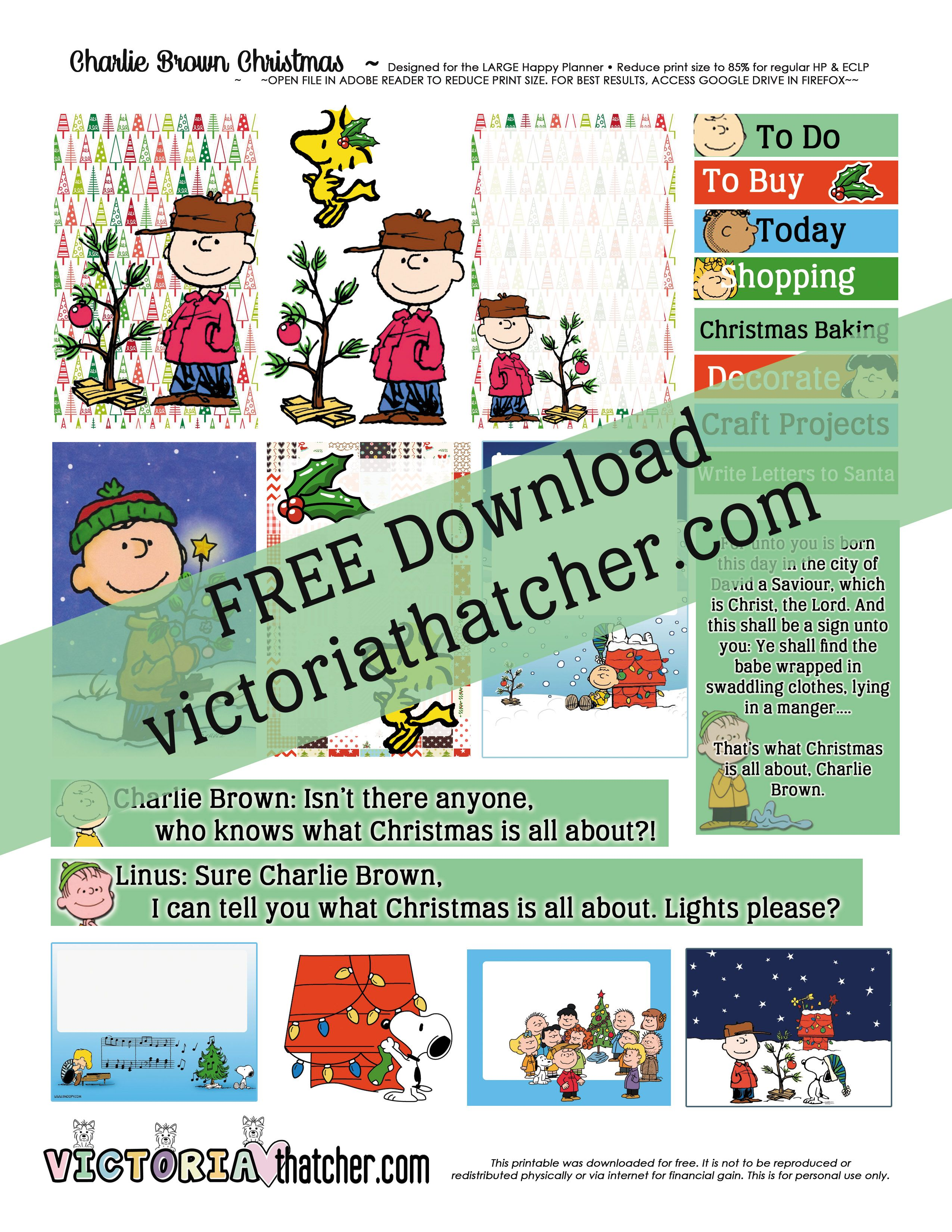 Free Printable Charlie Brown Christmas Planner Stickers - Victoria ...