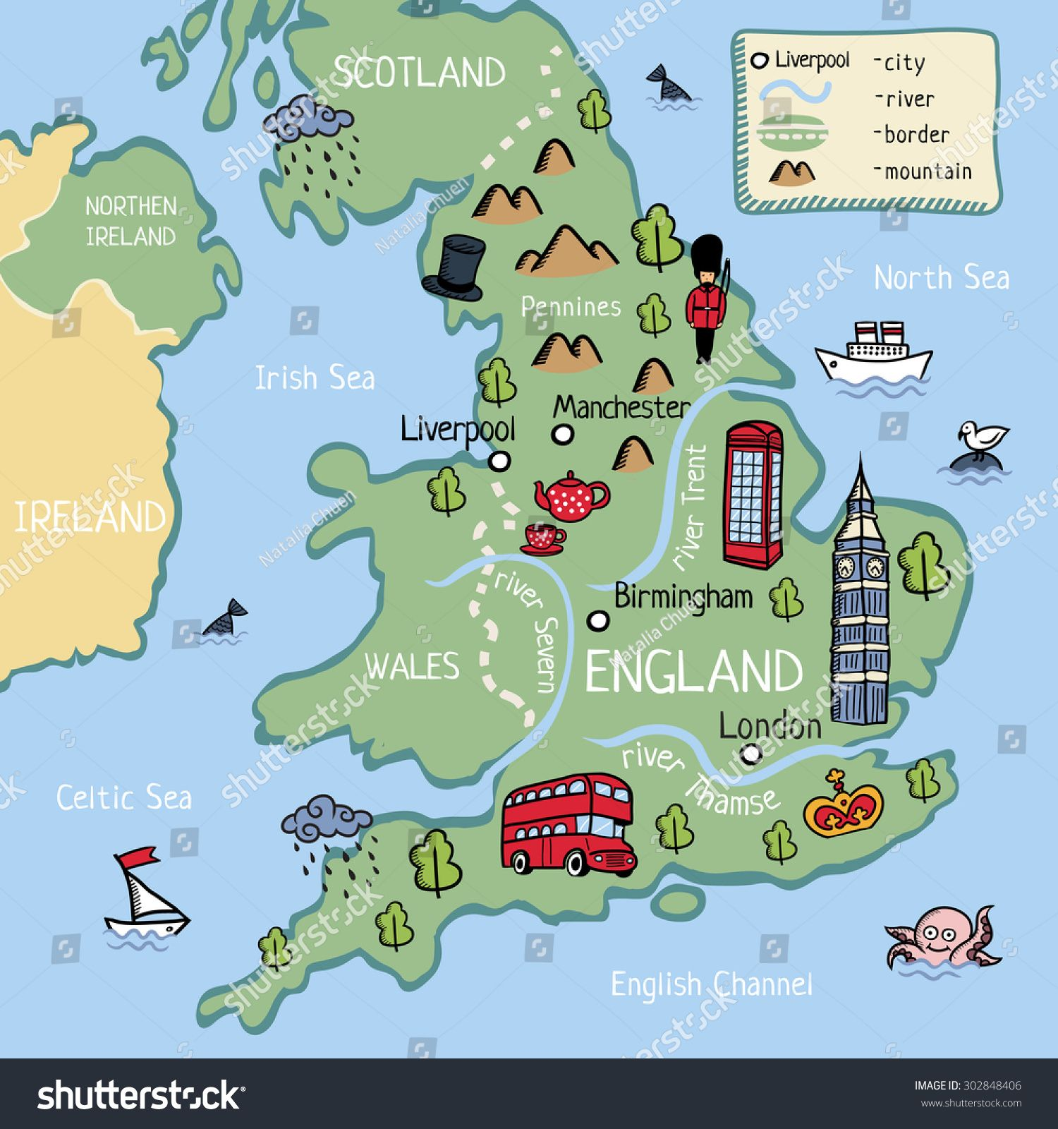 cartoon vector doodle map of england for kids for tourist