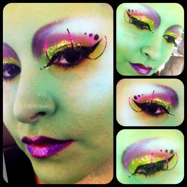 Martian space girl makeup. NYX glitter, Ben nye, sugarpill cosmetics. Halloween fun!