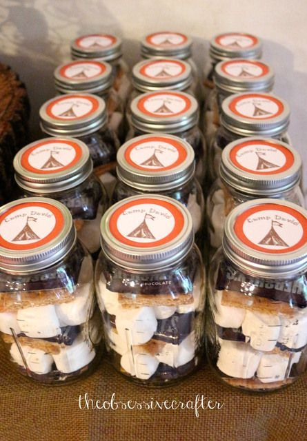 Cool Favors In Mason Jars At A Camping Party See More Ideas CatchMyParty Partyideas