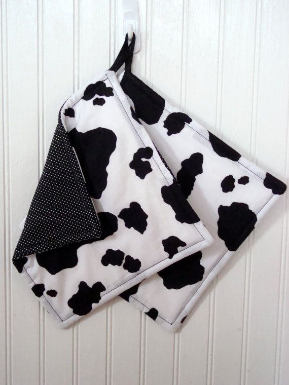 Cow Pot Holders Set Of 2 Cow Print Cow Hide Potholders Gift For Mom Farmhouse Kitchen Potholders Cow Kitchen Decor Fabric Potholders Cow Kitchen Decor Cow Kitchen Cow Decor