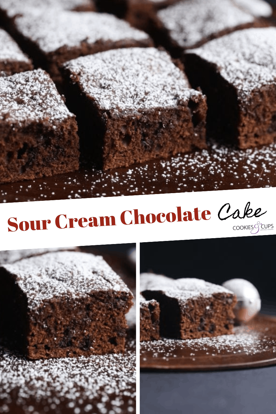 Sour Cream Chocolate Cake Is An Easy Cake That Can Be Frosted Or Dusted With Powdere In 2020 Sour Cream Chocolate Cake Amazing Chocolate Cake Recipe Sour Cream Recipes
