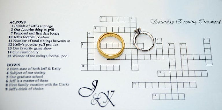 Wedding Day Crossword Puzzle   Entertain Your Guests   Erin Langford ...