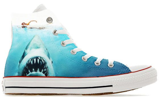 54909f4edfd0 Shark attack movie design custom converse high top shoes great white ...