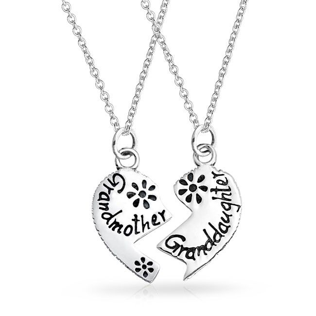 Personalize 2 Part Puzzle Split Heart Engravable Word Grandmother Granddaughter Jewelry Sterling Silver Heart Pendant Heart Shaped Pendant Necklace