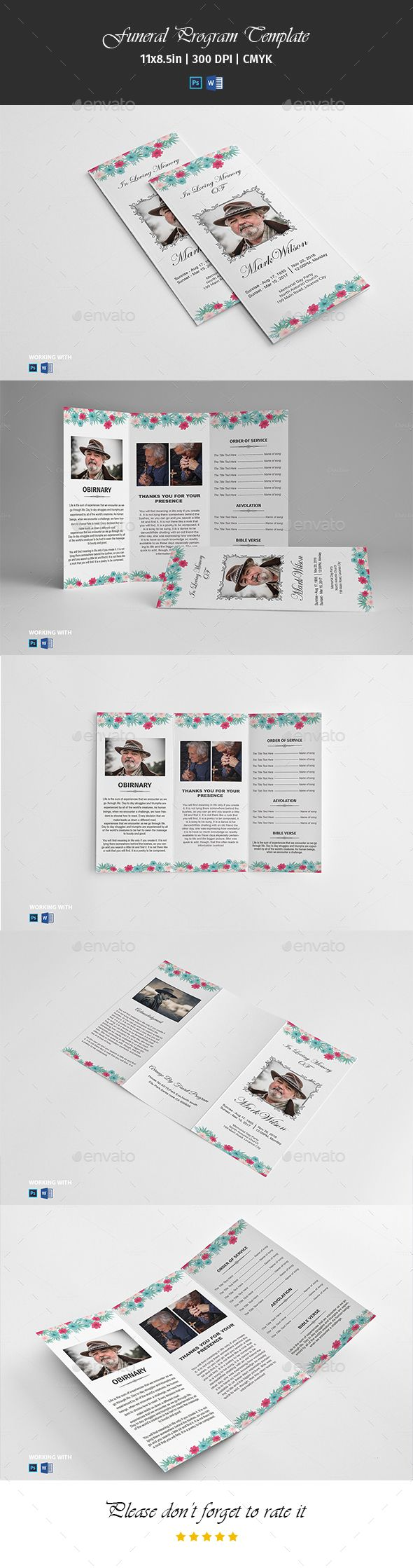 Trifold Funeral Program Template Vol04 PSD Brochure Floral