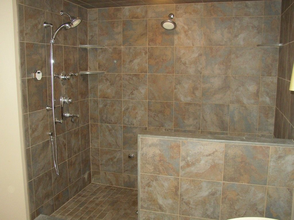 Bathroom doorless shower ideas - Comfortable Bathroom Shower Designs Without Doors With Walk In Tiled With Stainless Shower And Brown Wall