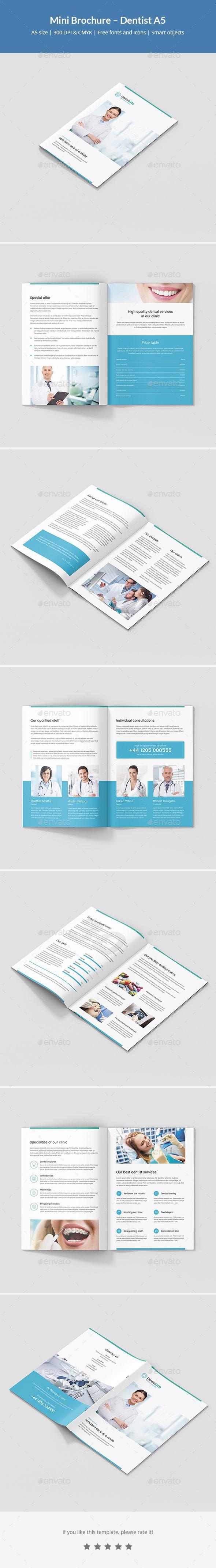 Mini Brochure Dentist A5 Brochures Brochure Template And A5