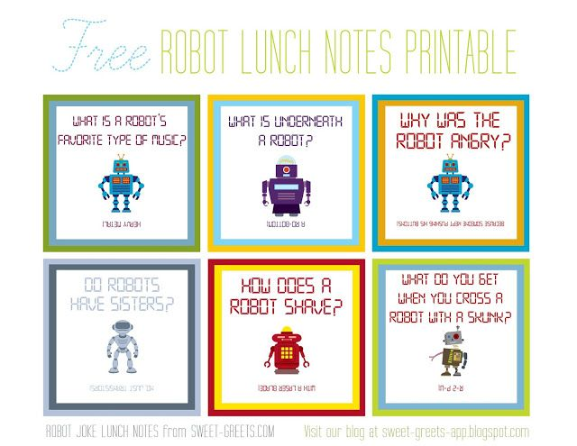 Free Printable Robot Joke Lunch Notes Lunchbox Pinterest