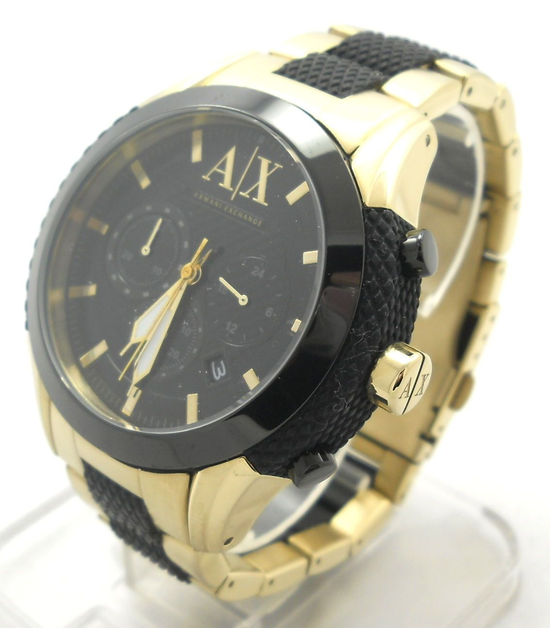 armani exchange watch men s pre owned gold black stainless armani exchange watch men s pre owned gold black stainless steel quartz ax designer