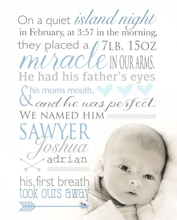 Miracle Baby Quotes: Nursery Art Birth Announcement