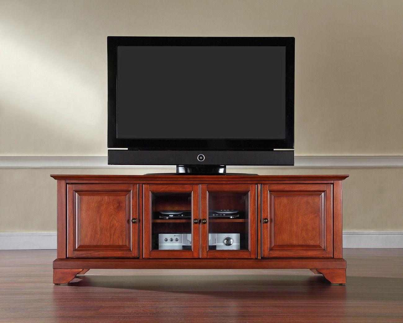 Lafayette 60 Low Profile Tv Stand In Classic Cherry Finish Crosley Kf10005bch Low Profile Tv Stand Tv Stand Crosley Furniture
