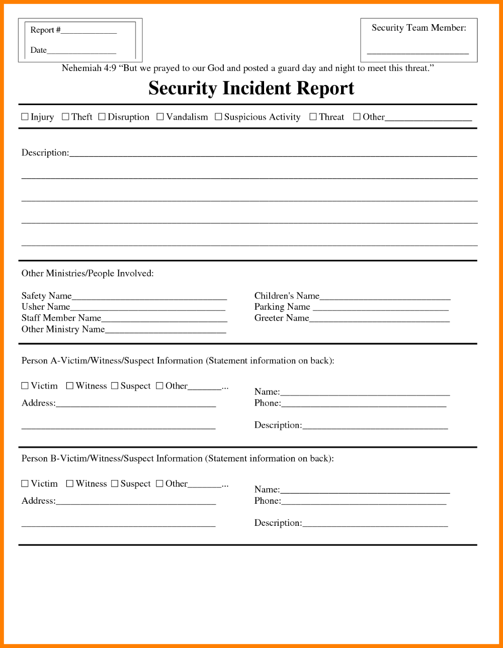 Template Ideas Security Incident Reports Uncategorized Premium For Incident Report Form Template Word Incident Report Form Report Template Information Report