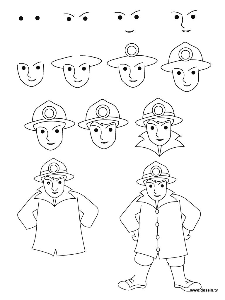 Dessin pompier Apprendre  dessiner un pompier en quelques étapes simples Retrouvez aussi de nombreux autres dessins et coloriages sur dessin