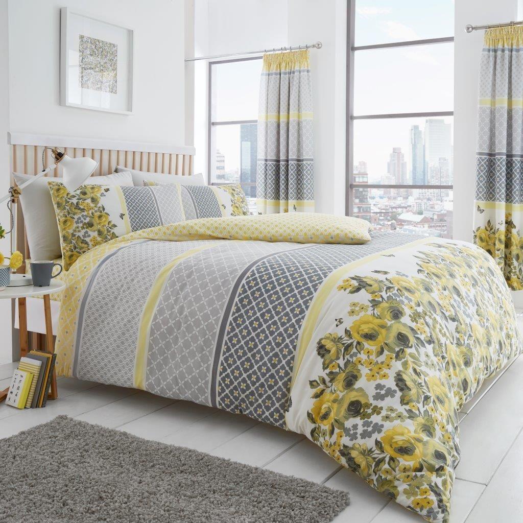 Saphira Floral Yellow Grey Duvet Quilt Cover Bedding Set Duvet