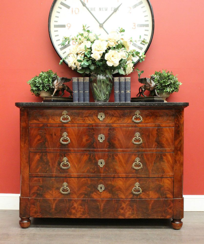 Antique French Flame Mahogany And Black Granite Top Chest Of 4 Drawers C1890