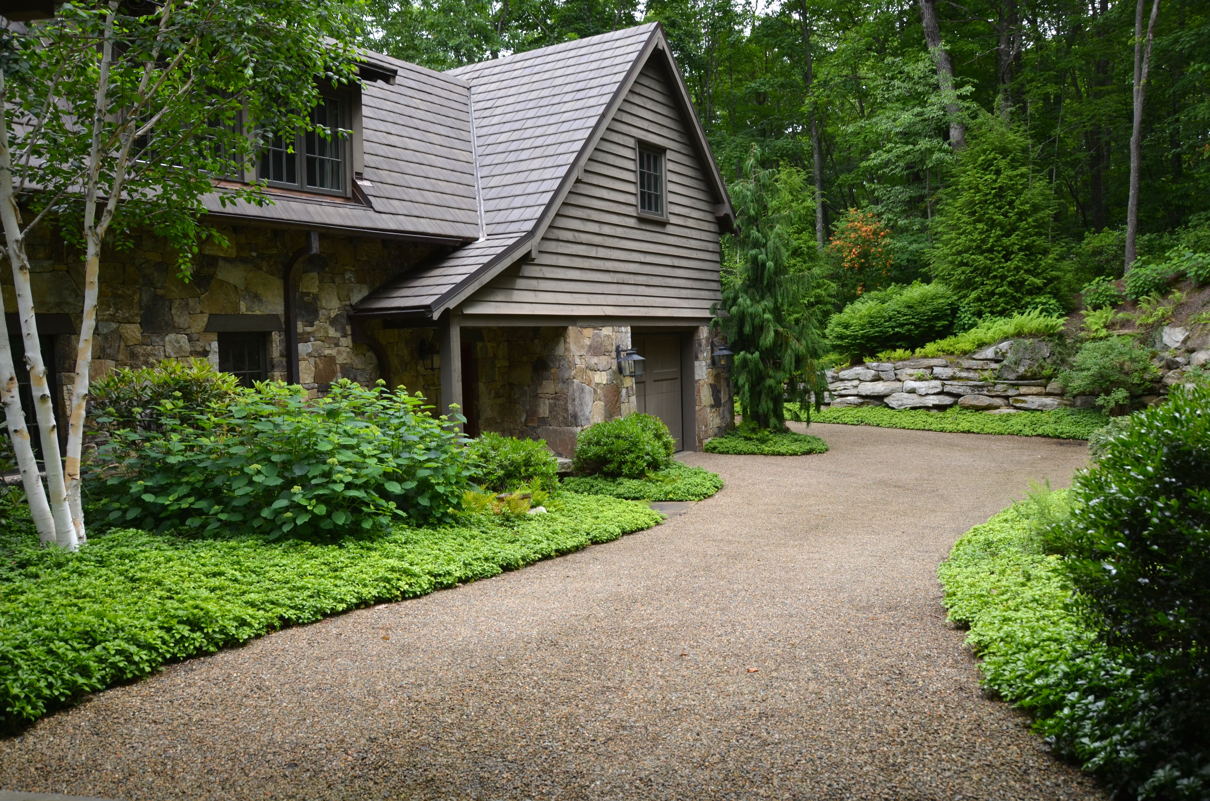 Pea gravel driveway in the mountains of north carolina a planters design highlands nc