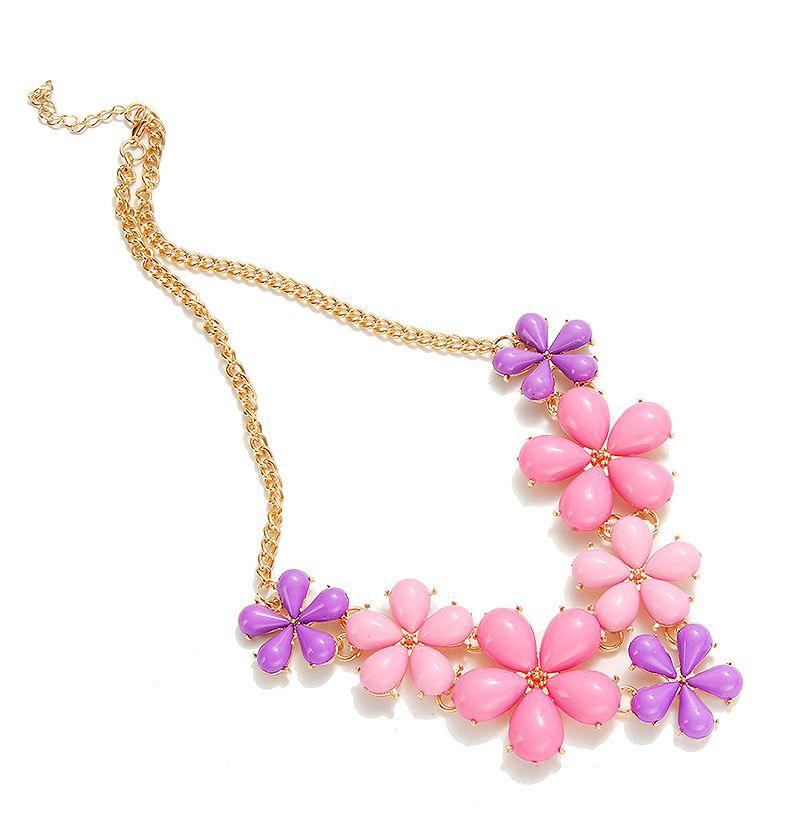 2016 Gran Cadena Collar de Gargantilla de Flor Rosa Azul Colores Glod-plateado Planta de Resina Declaración Collares y Colgantes Para Las Mujeres de Joyería de Moda