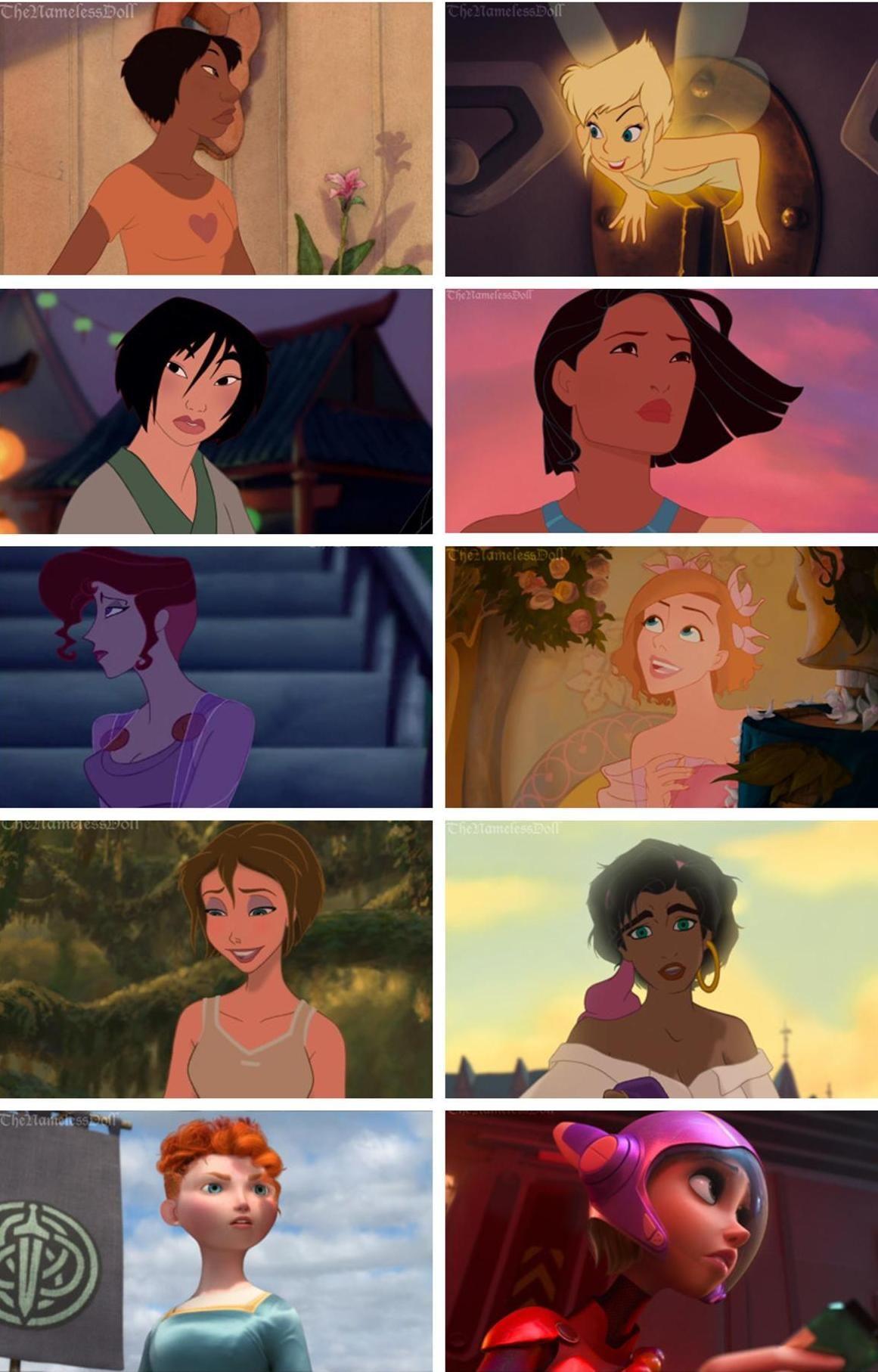 Disney Females With Short Hair Disney Princess Art Disney Memes Disney Art