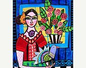 40% SALE- Frida Kahlo Black Cat - Day of the Dead - Mexican Folk art Panel Poster of Painting Mounted