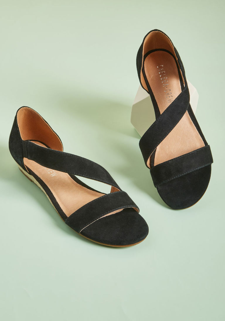 3b0ea57e3 Chelsea Crew Sleek Appreciation Suede Sandal in 40 - Low Heel - Over 1 -2  by Chelsea Crew from ModCloth